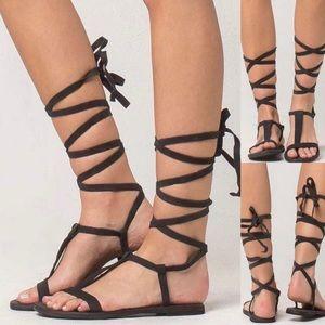 Free People Dahlia lace up black sandals 38/8